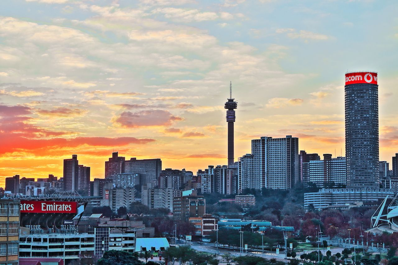 Sunset view of the Johannesburg city skyline including the Ponte and Hillbrow Towers