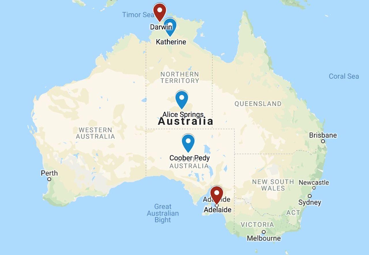 The Ghan Australia map
