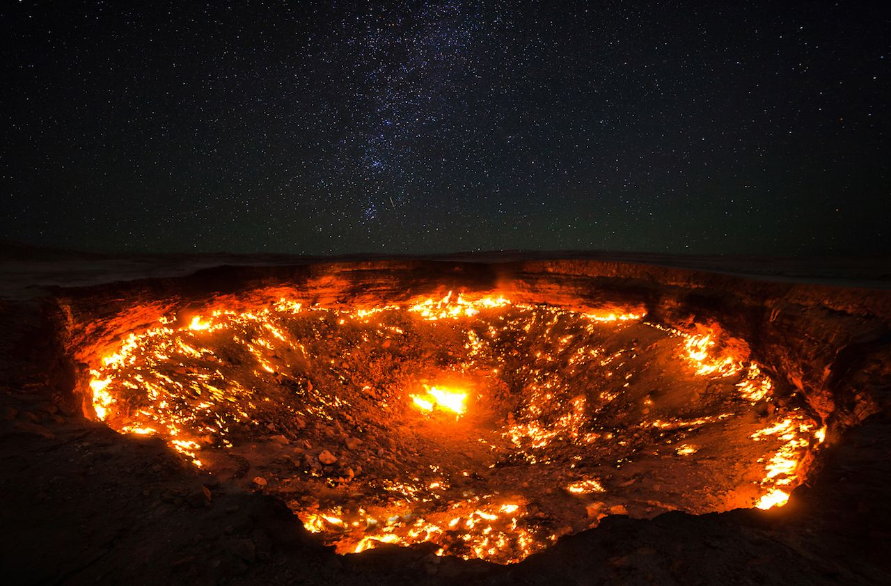 The famous gas crater in Darvaza village in the desert of Turkmenistan