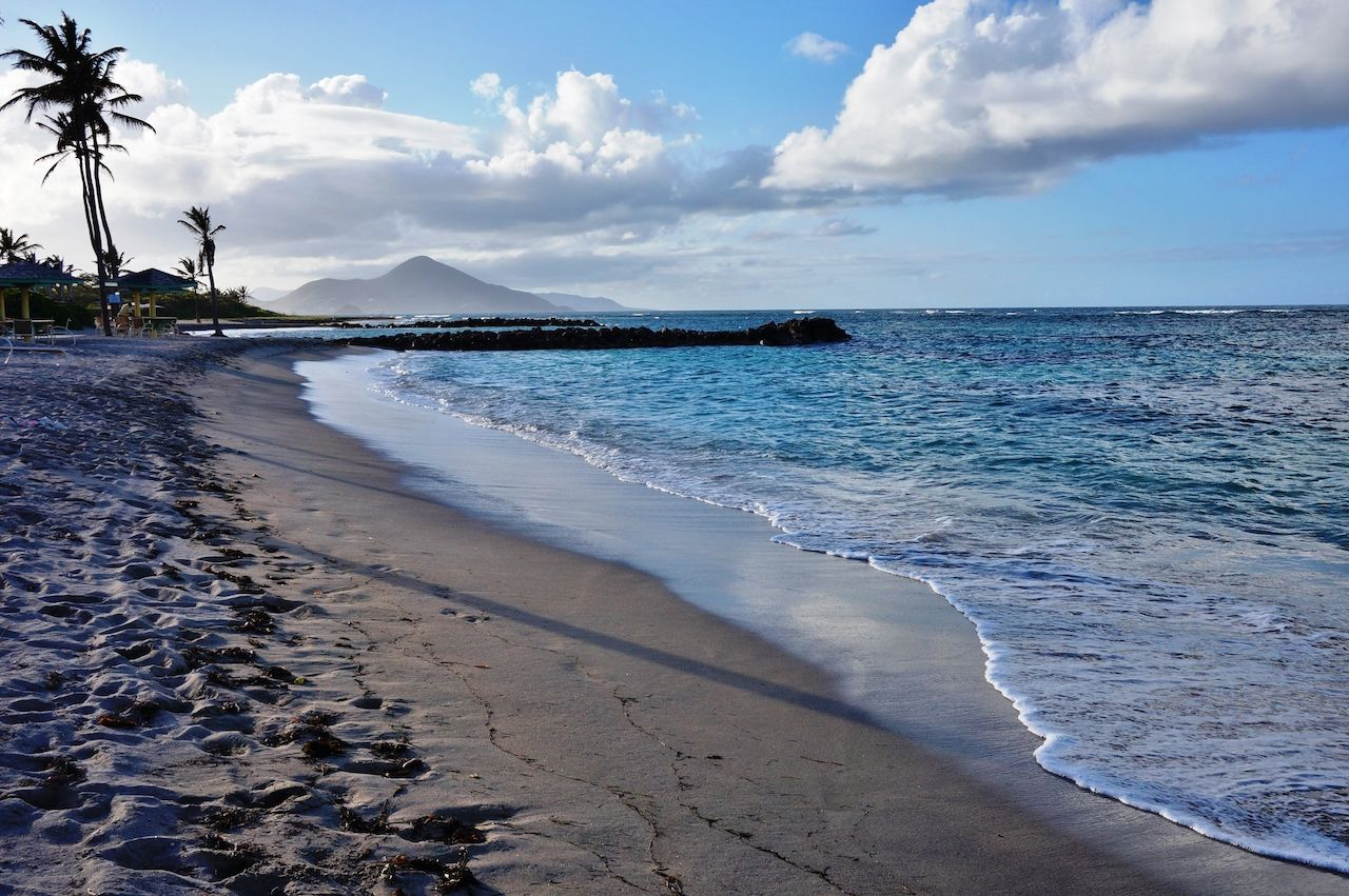 The windward side of the Caribbean island of Nevis