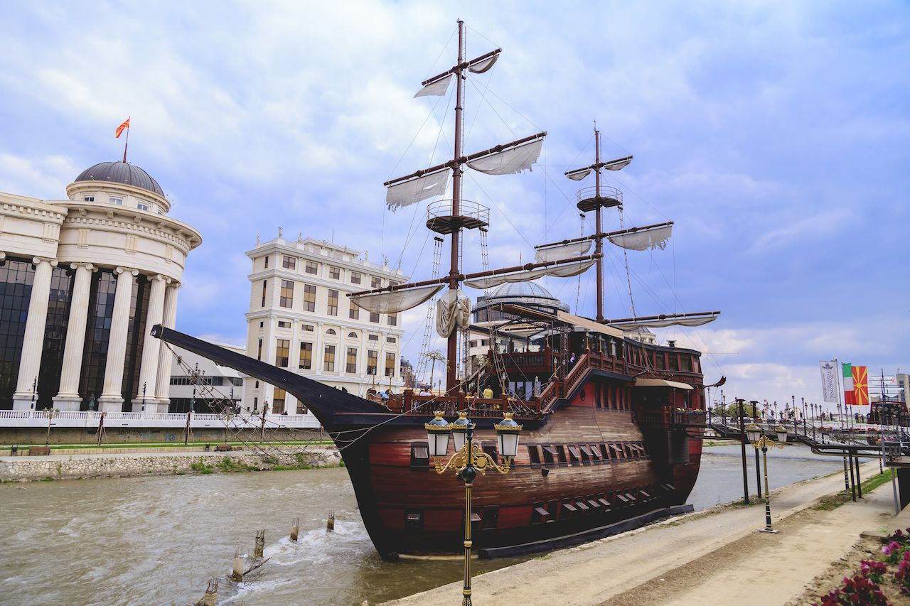 The wooden ship restaurants serve Italian food on Varda River in Skopje, Macedonia
