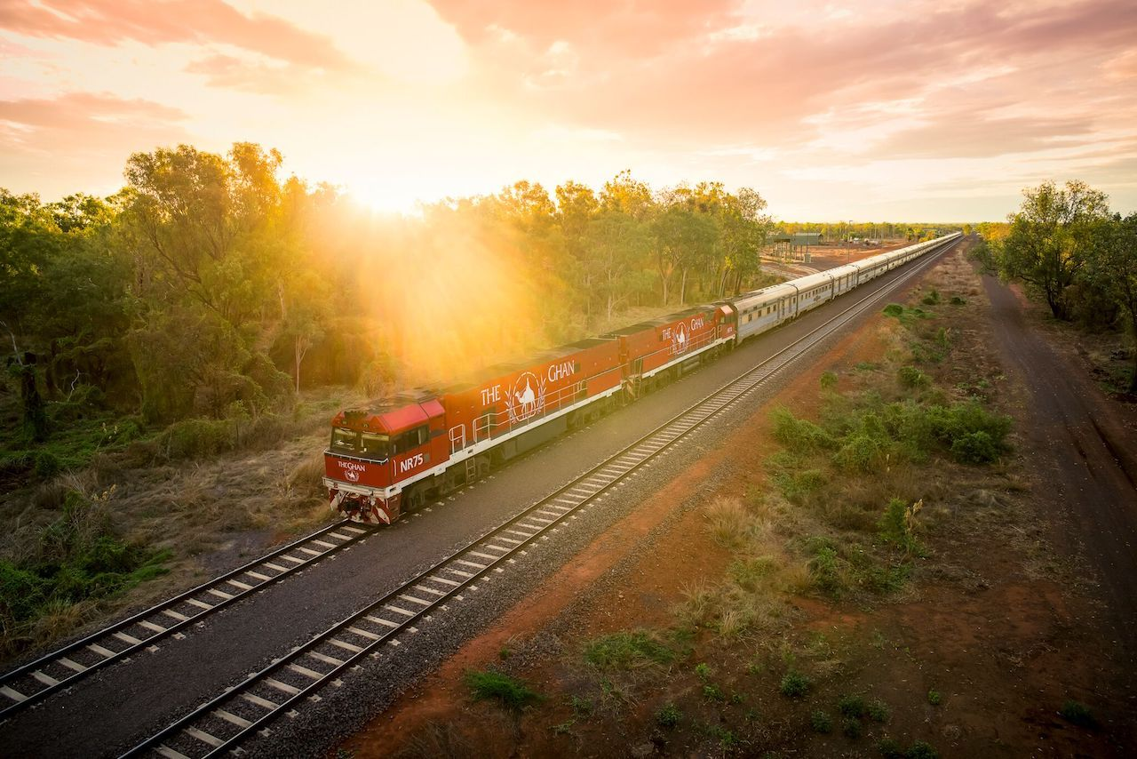 The Ghan from above in Australia