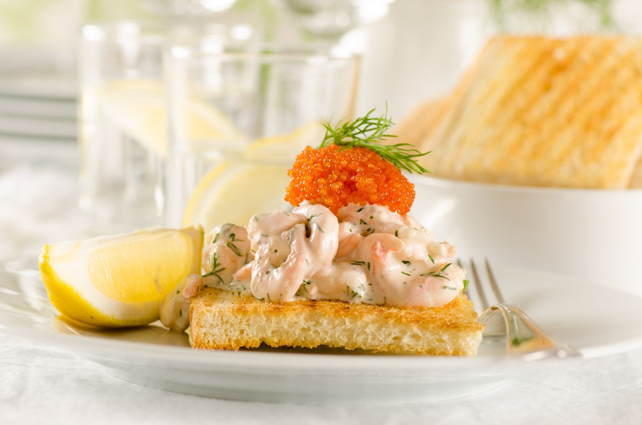 Toast skagen - shrimp and caviar on toast. Classic swedish appetizer