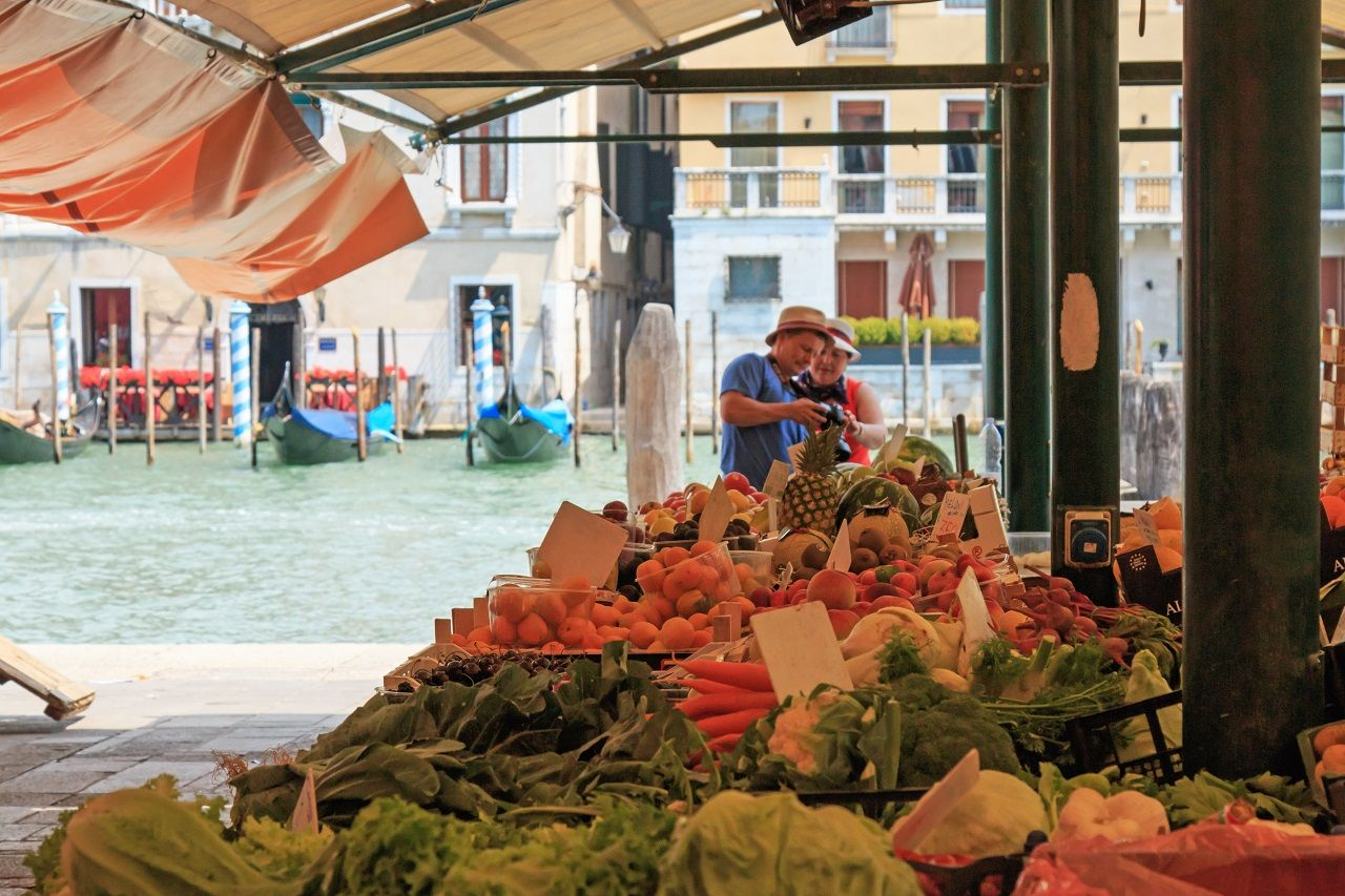 Various vegetables in the morning at Rialto market in Venice, Italy