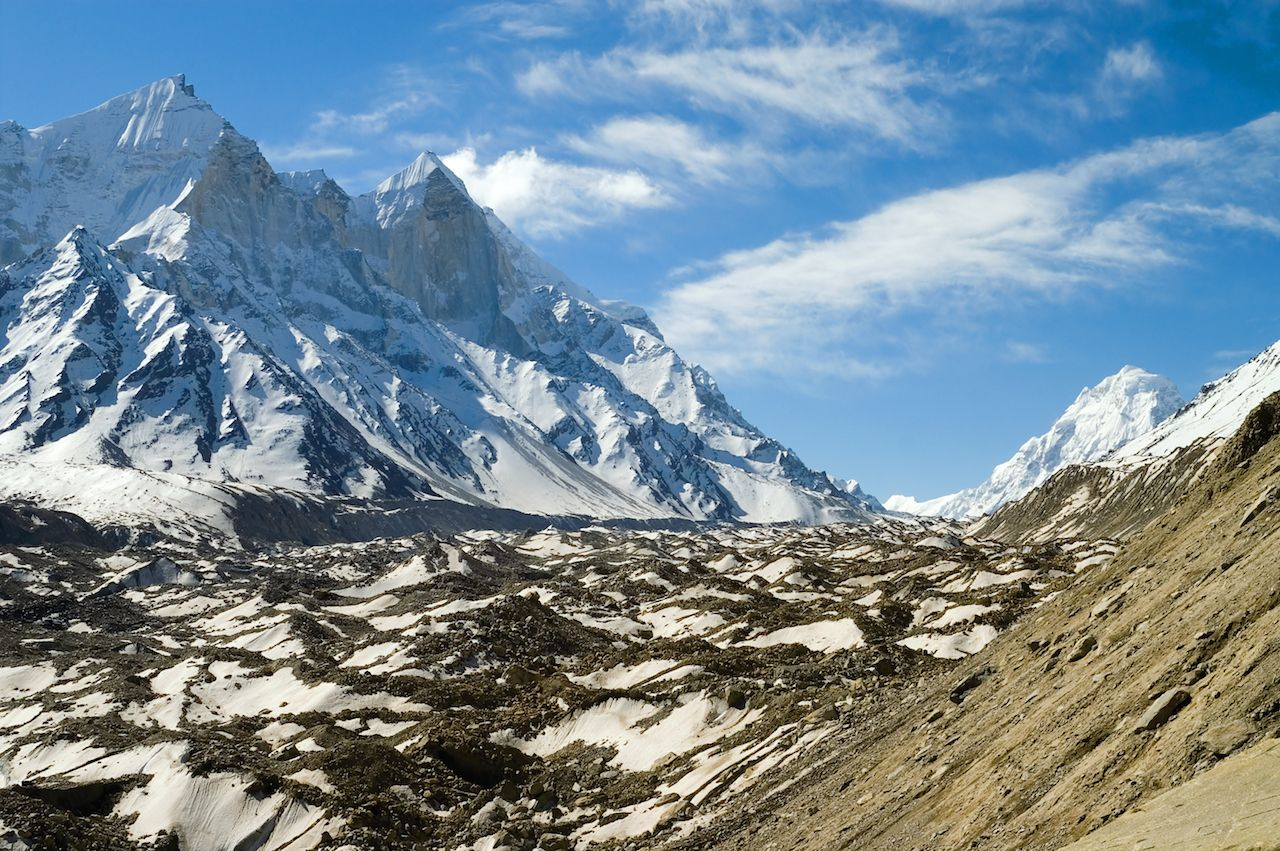 View at Bhagirathi Parbat and Gangotri Glacier in Indian Himalayas