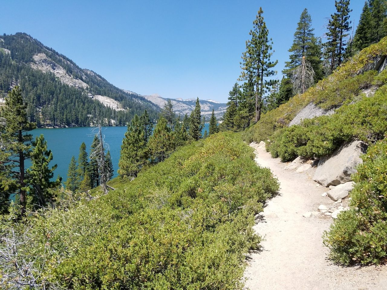 View of Echo lake from Tahoe rim and the Pacific crest trail