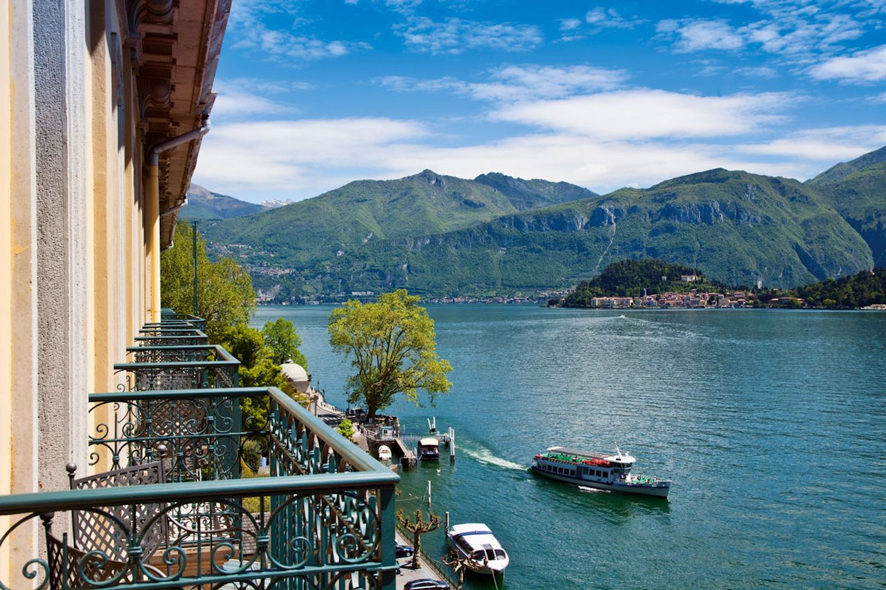 View of Lake Como from a Grand Hotel Tremezzo balcony