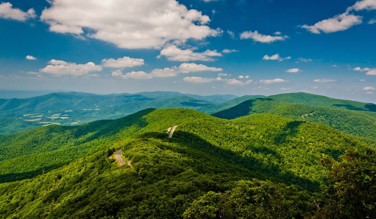 View of the Blue Ridge Mountains along the Appalachian Trail in Shenandoah National Park, Virginia