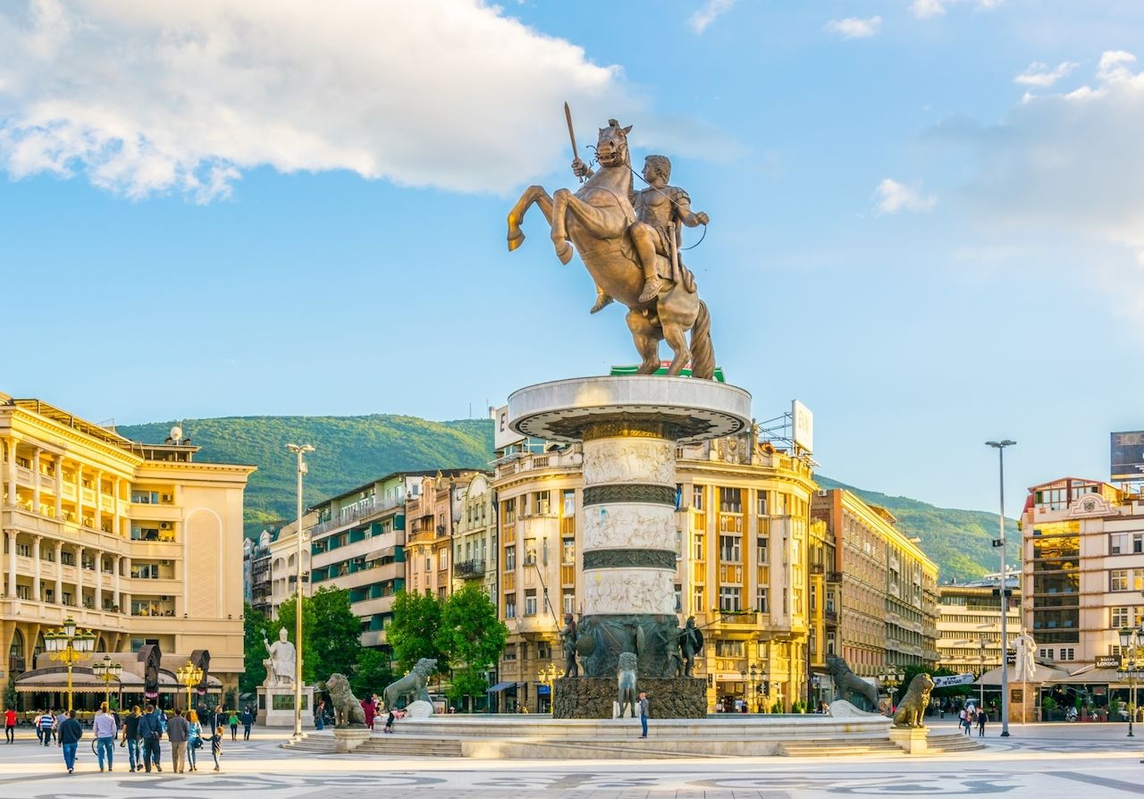 View of the Macedonia square dominated by statue of alexander the great in skopje