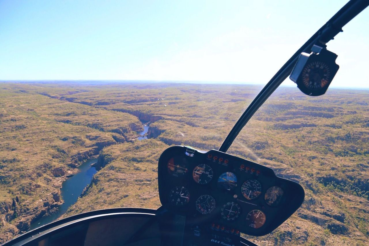 View of Nitmiluk Gorge from a helicopter