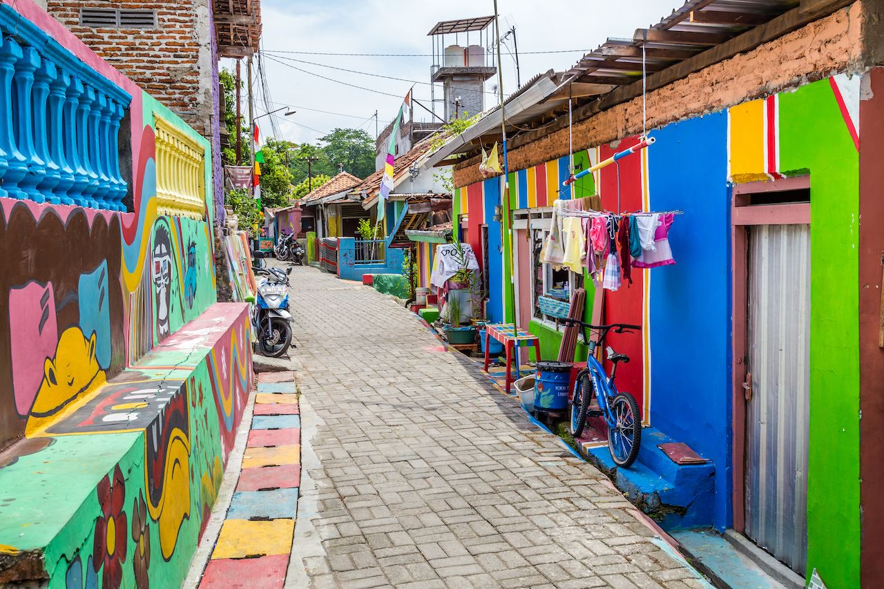 Colorful rainbow houses in Kampung Pelangi in Randusari in South Semarang in Java Indonesia