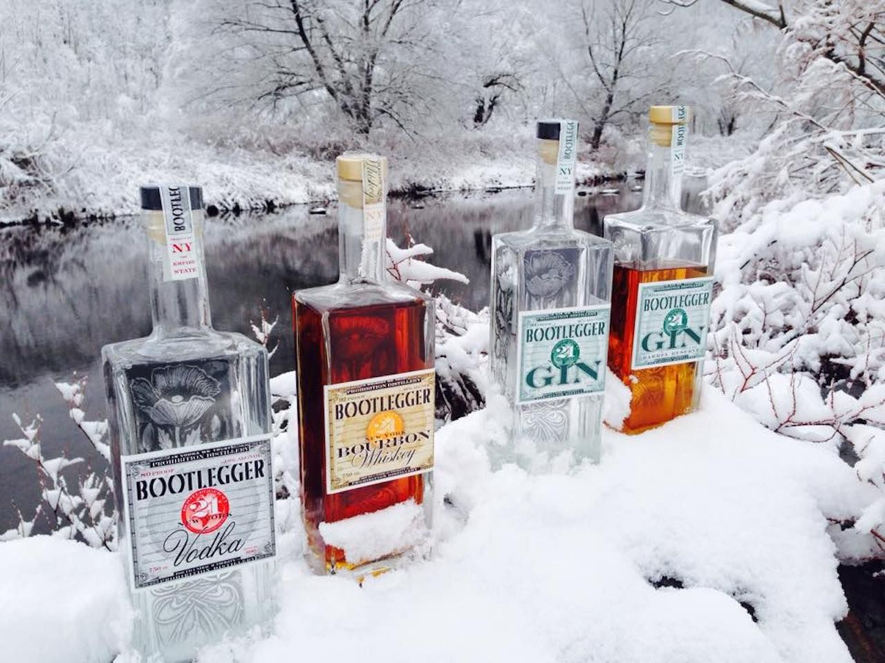 Prohibition Distillery liquor bottles in the snow