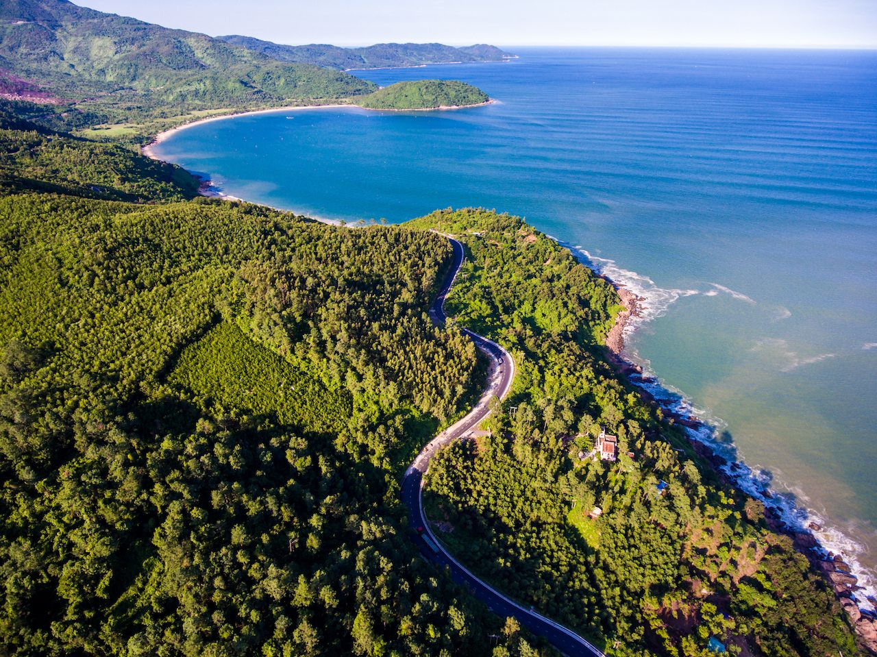 A corner of Hai Van Pass from above, Danang, Vietnam