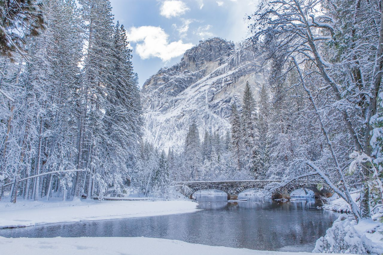 A winter scene with reflection at Yosemite National Park