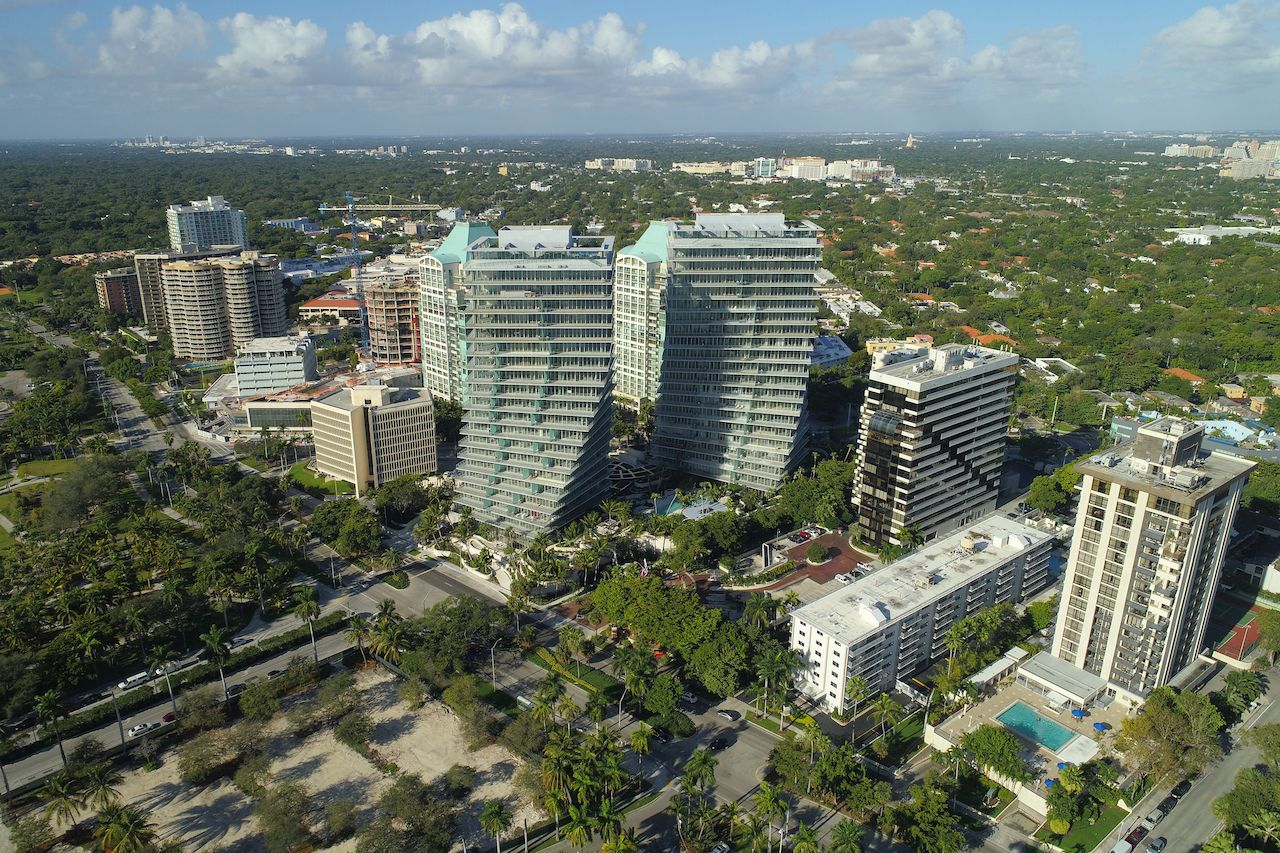 Aerial image of buildings in Coconut Grove, Florida