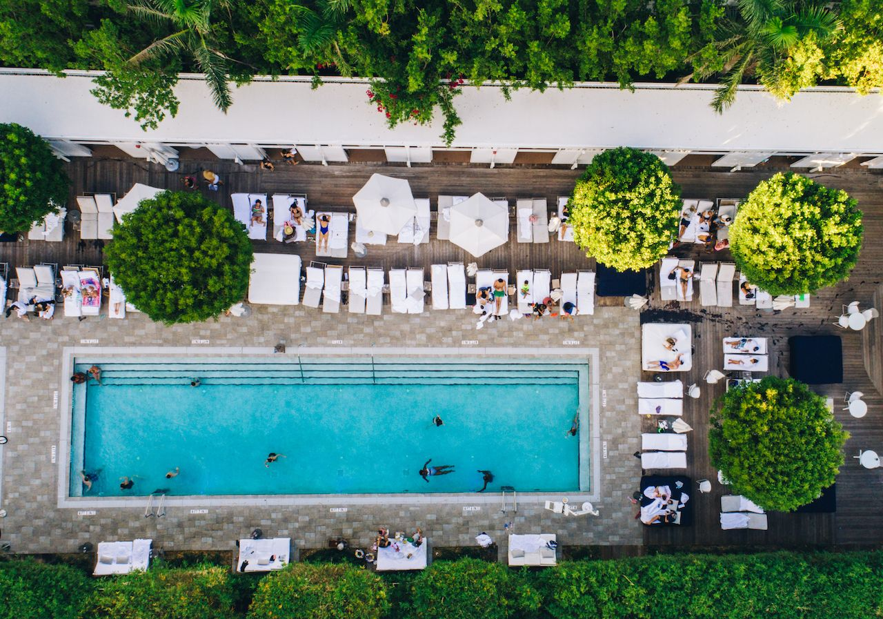 Aerial view of a hotel pool in Miami