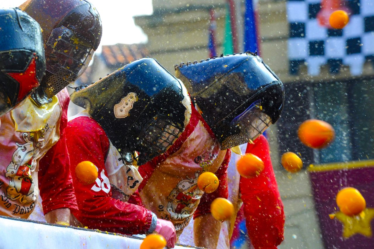 Battle of the Oranges in Ivrea Italy