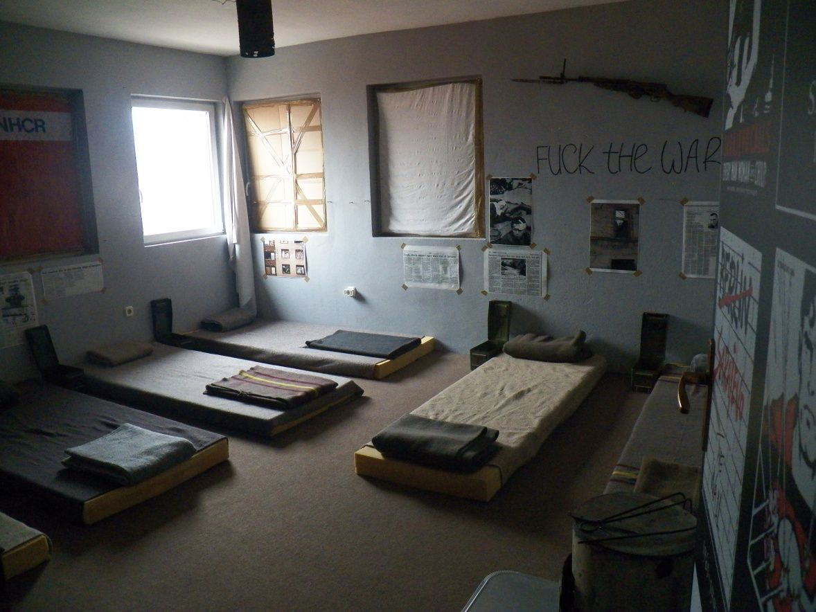Beds at war zone themed hostel in Sarajevo, Bosnia and Herzegovina