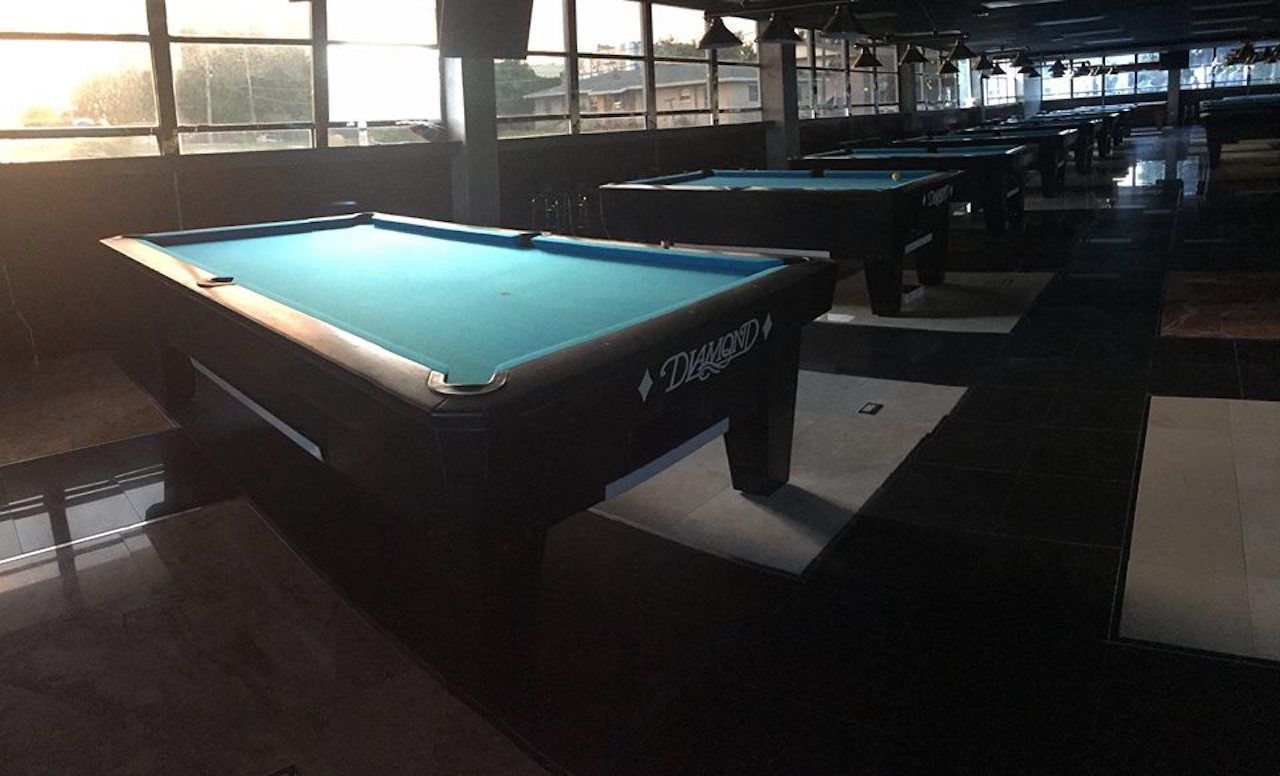 Billiards table at a Miami bar