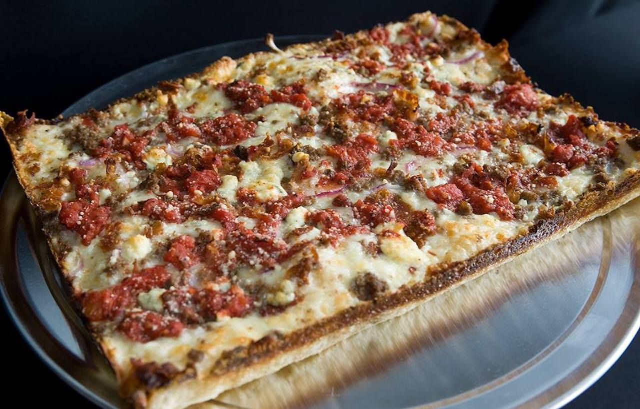 square, thin-crust pizza from Buddy's Pizza in Detroit
