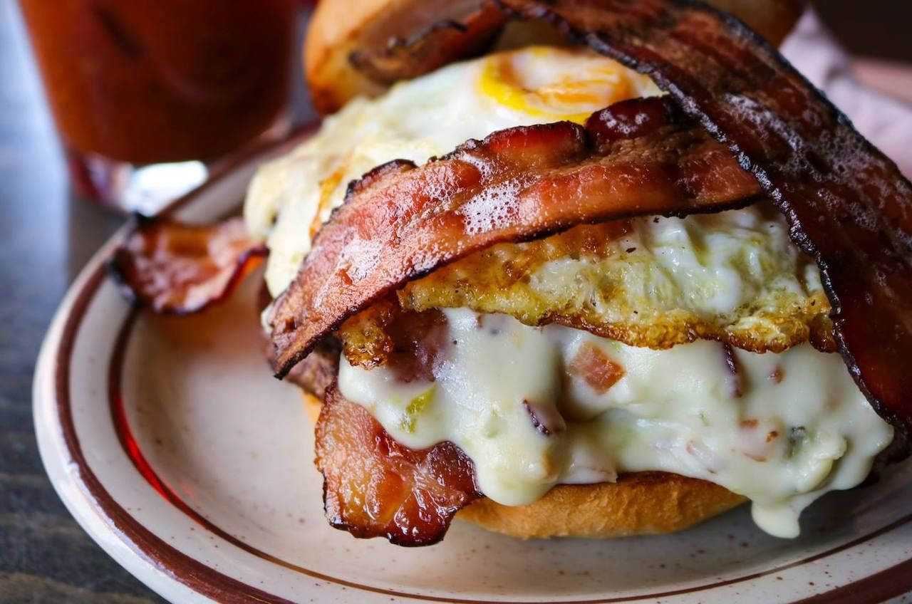 Burger with egg and bacon from Cherry Cricket in Denver, Colorado