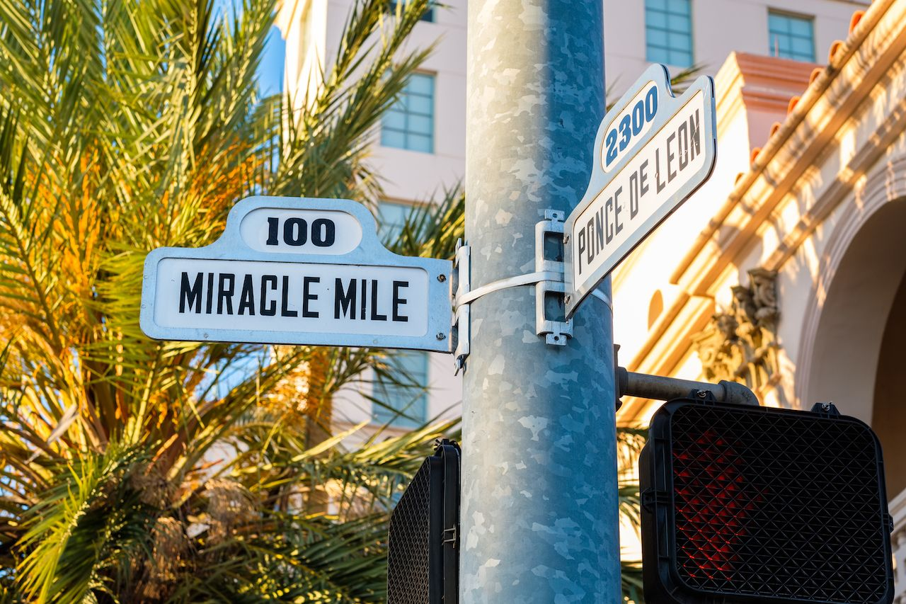 Miracle Mile sign in Miami, Florida