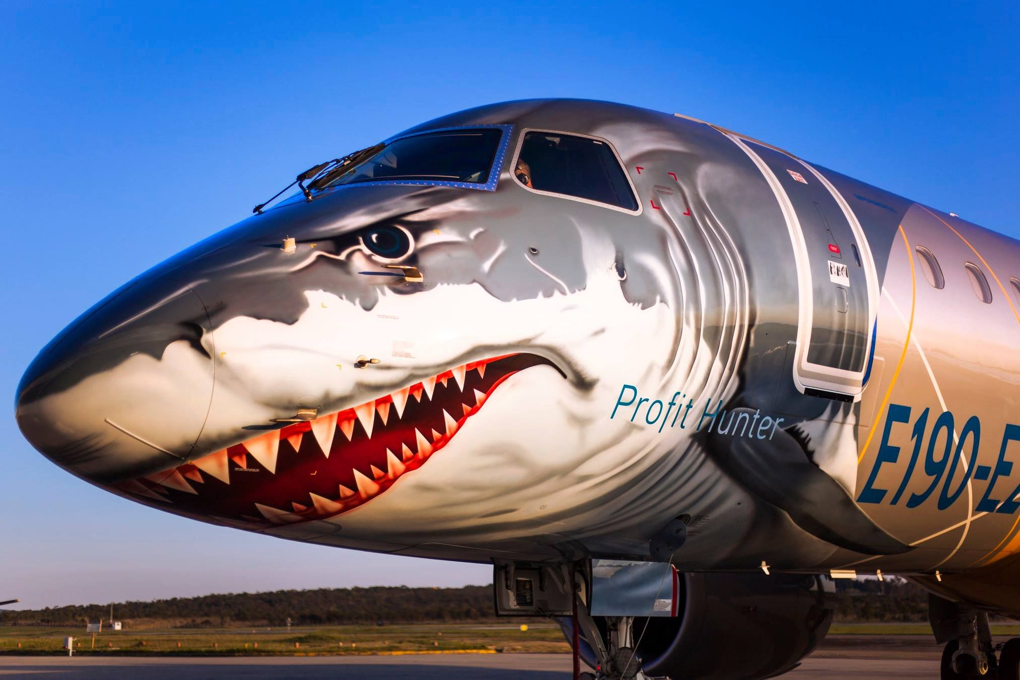 Closeup of new Embraer E2 regional jets, the Profit Hunter, with shark livery