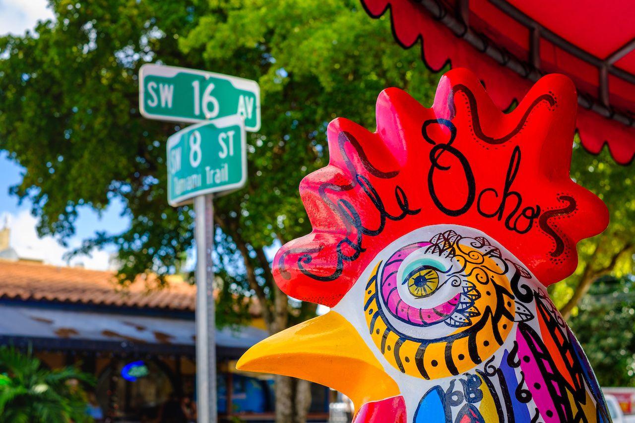 Colorful artwork on display along Calle Ocho in Little Havana, Florida
