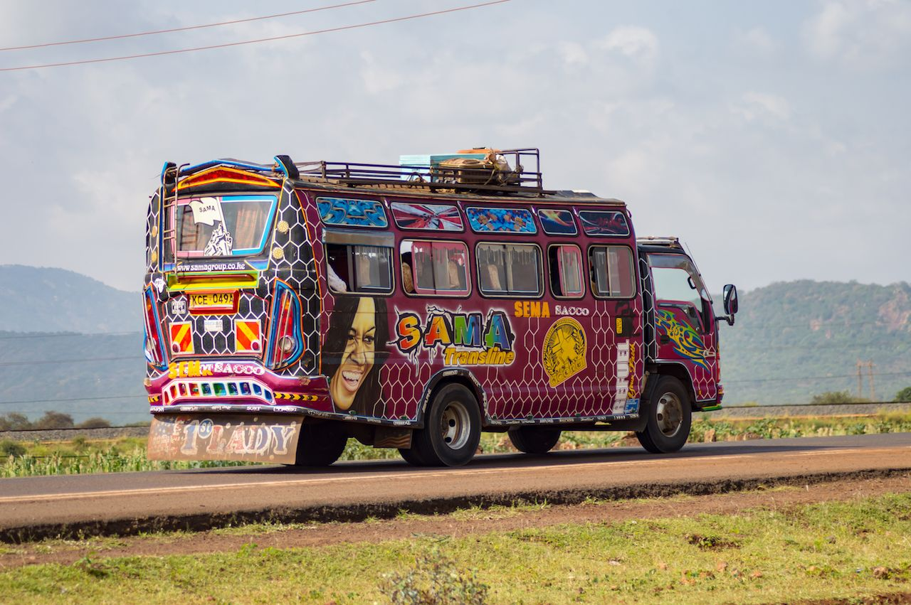 Colorful bus of several reasons in Kenya's countryside in Africa