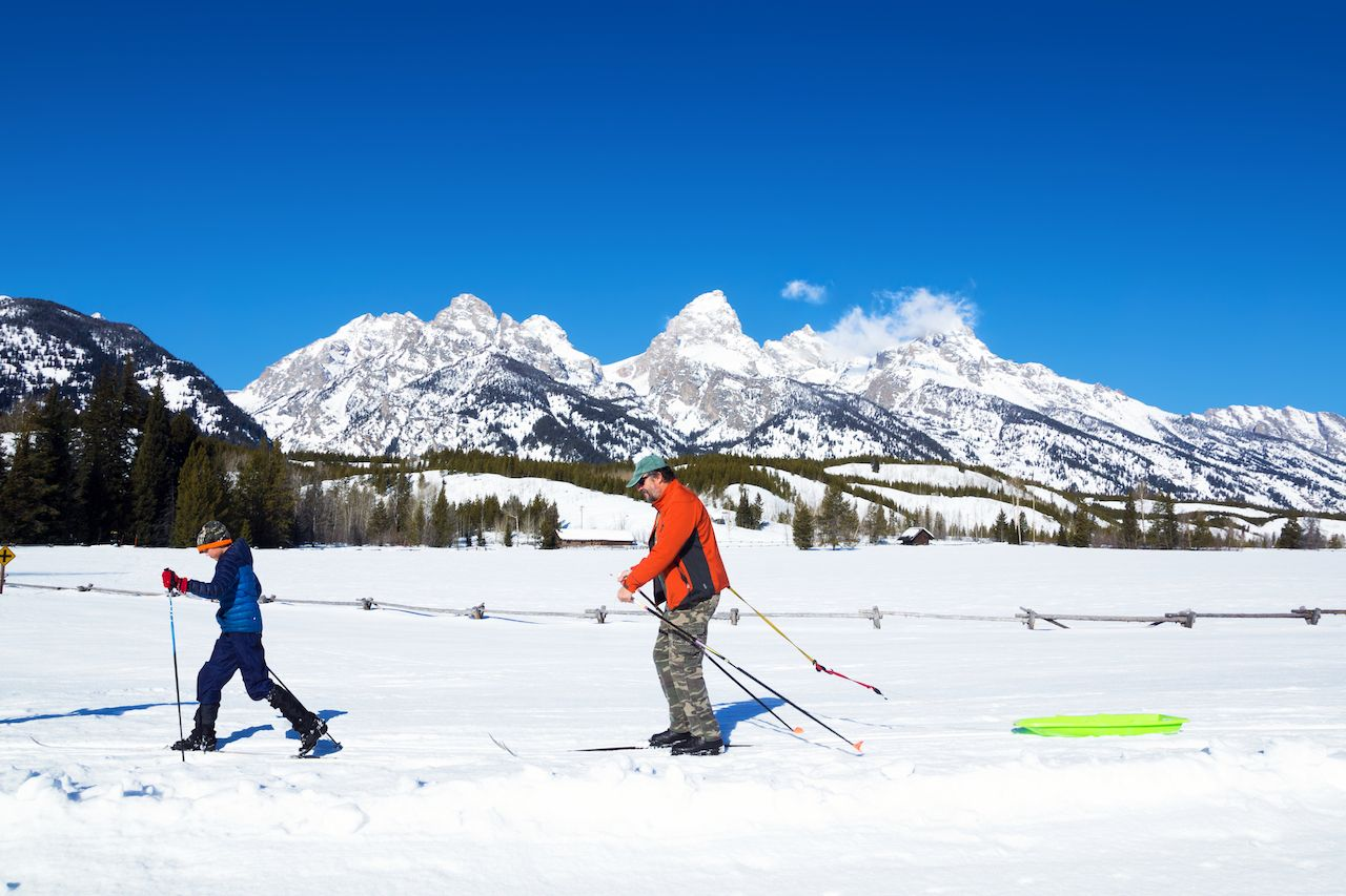 Cross-country skiing in Grand Teton National Park, Wyoming