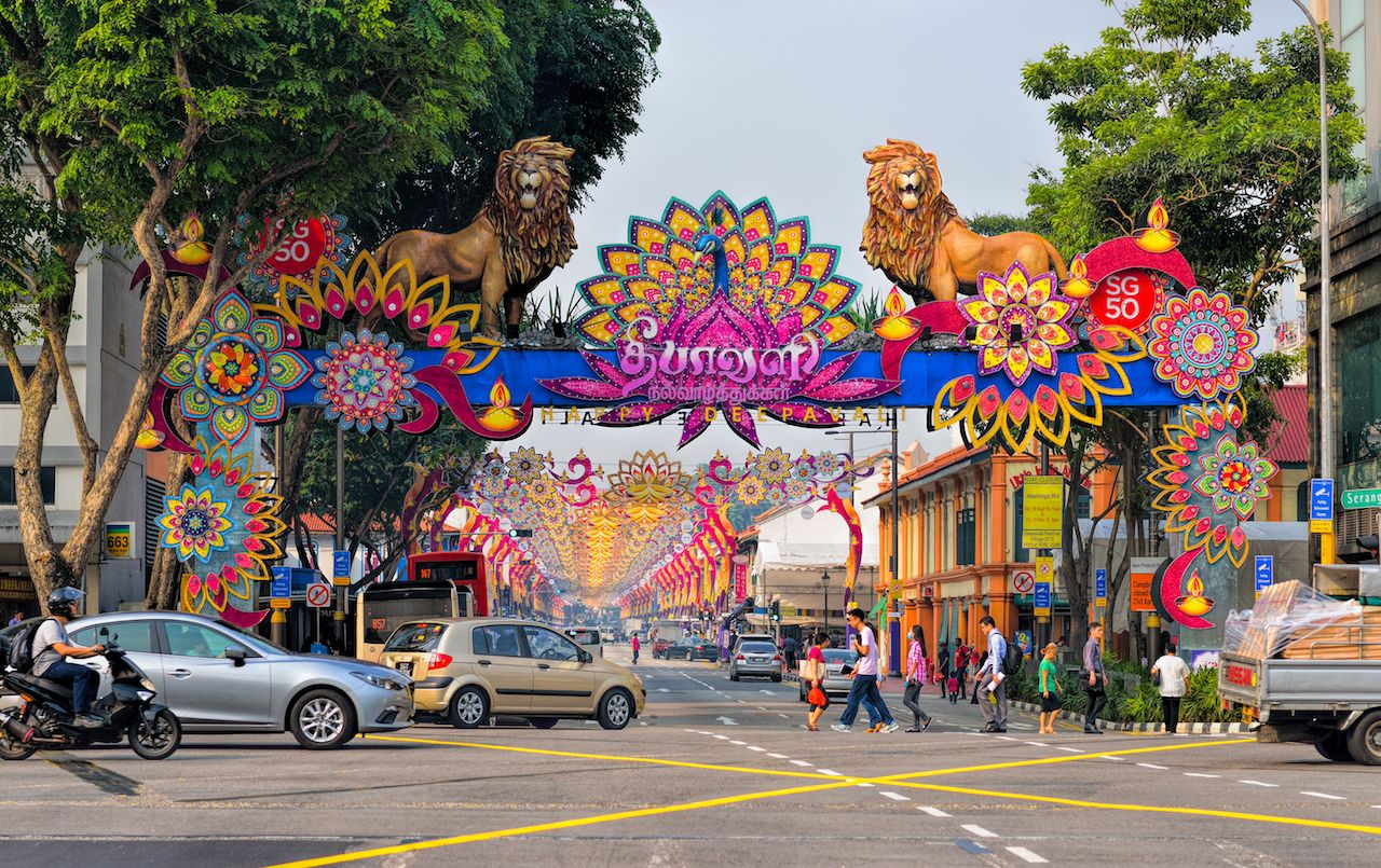 Deepavali decorations in Little India in Singapore