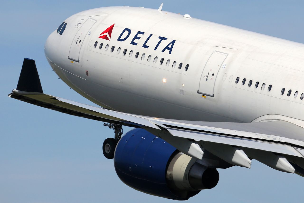 Delta passenger steps in dog feces