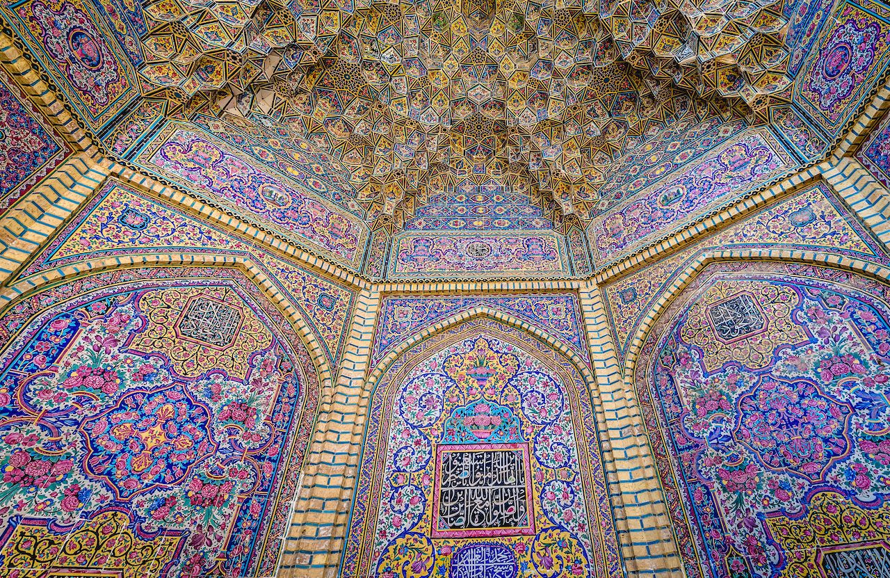 Details of Nasir al-Mulk Mosque also known as Pink Mosque in Iran