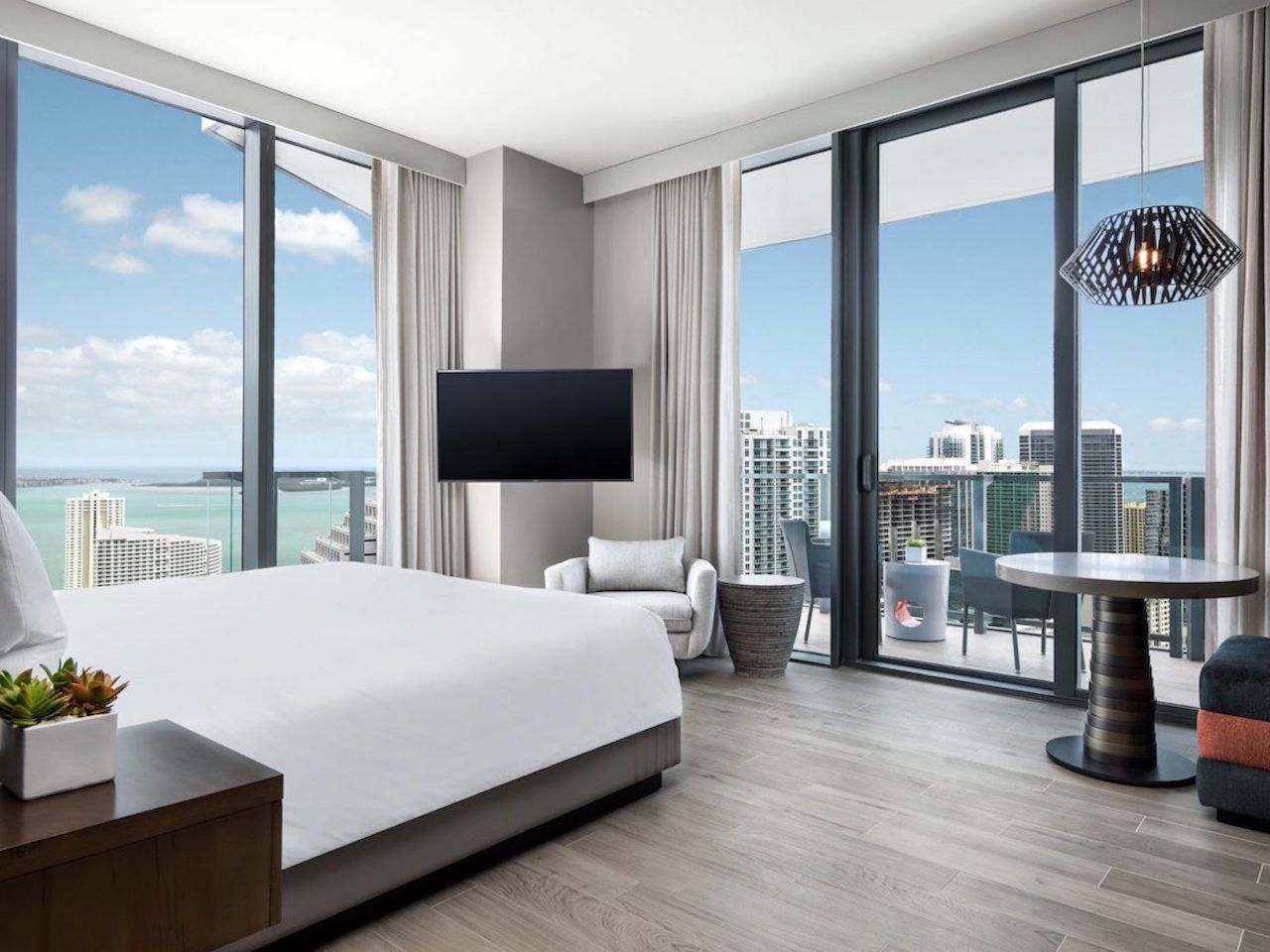 EAST Miami hotel room overlooking dowtown and the water