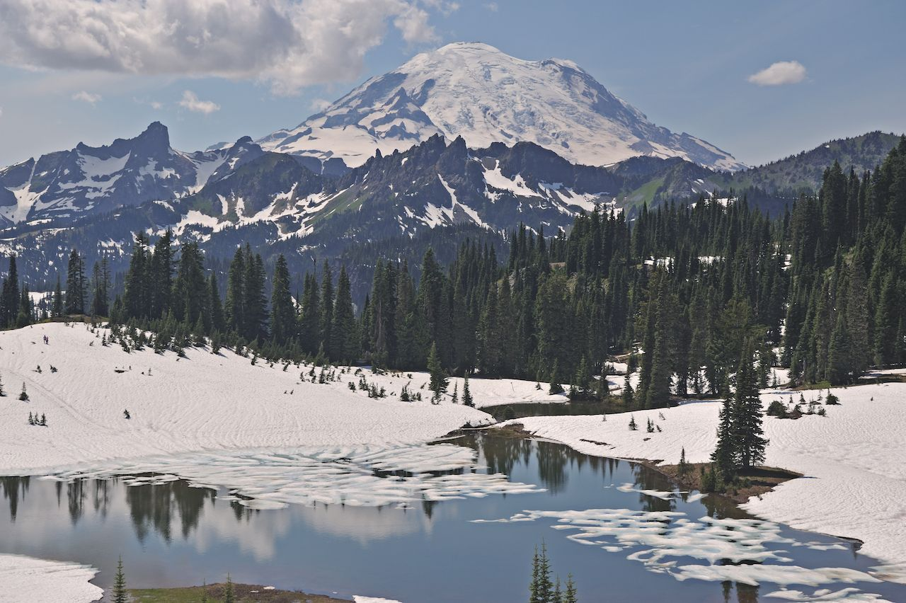 Early spring landscape of Tipsoo Lake and snow and glacier-clad Mt. Ranier
