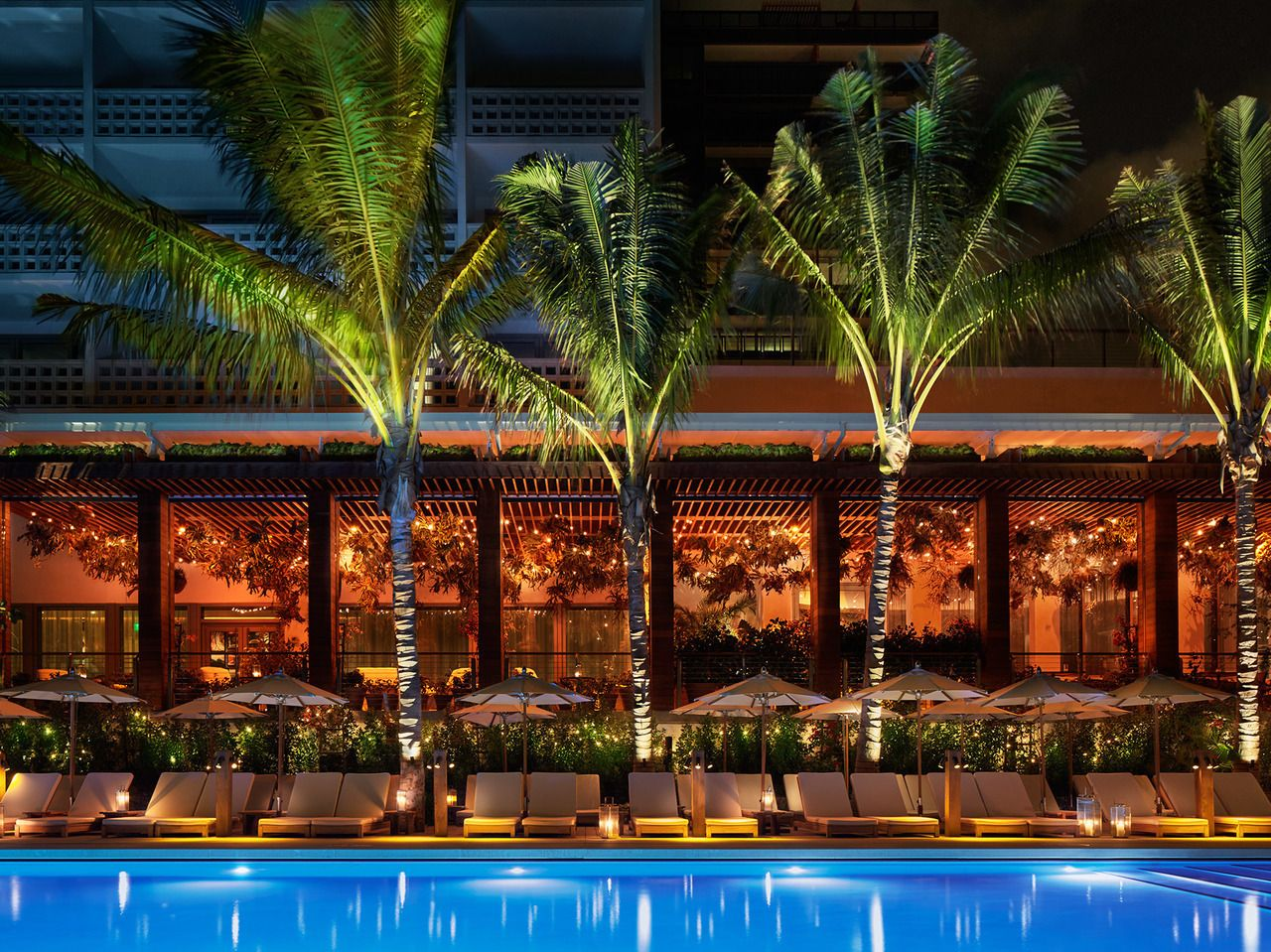 Edition hotel in Miami by the pool at night
