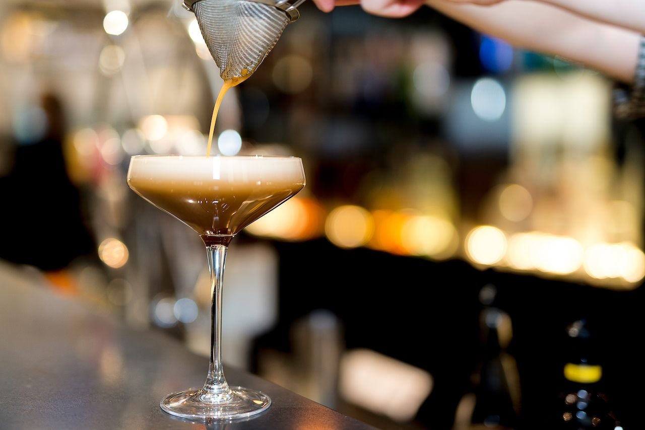 Espresso Martini being poured at a bar