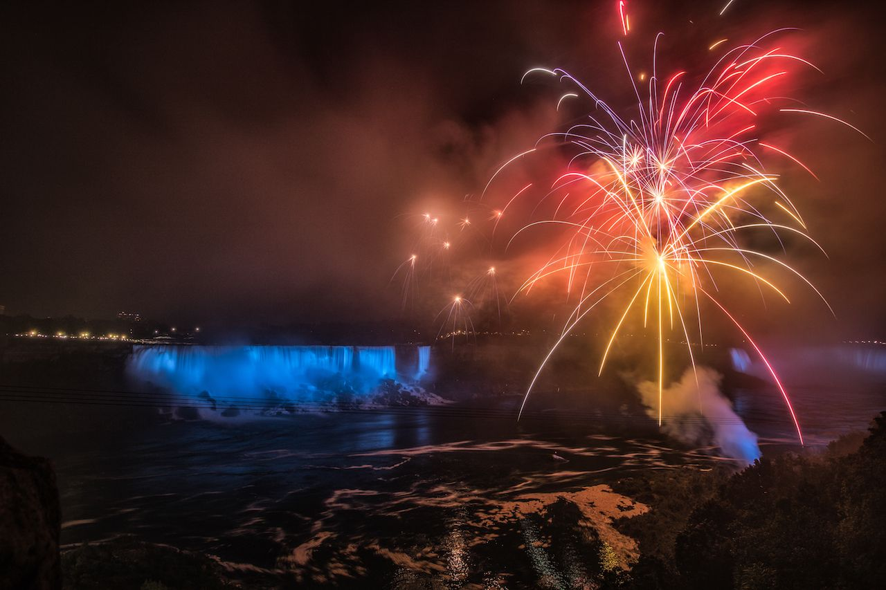 Fireworks over Niagara Falls for NYE