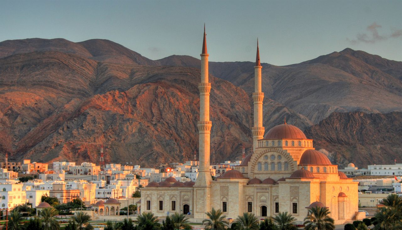 Grand Mosque and mountains Muscat Oman