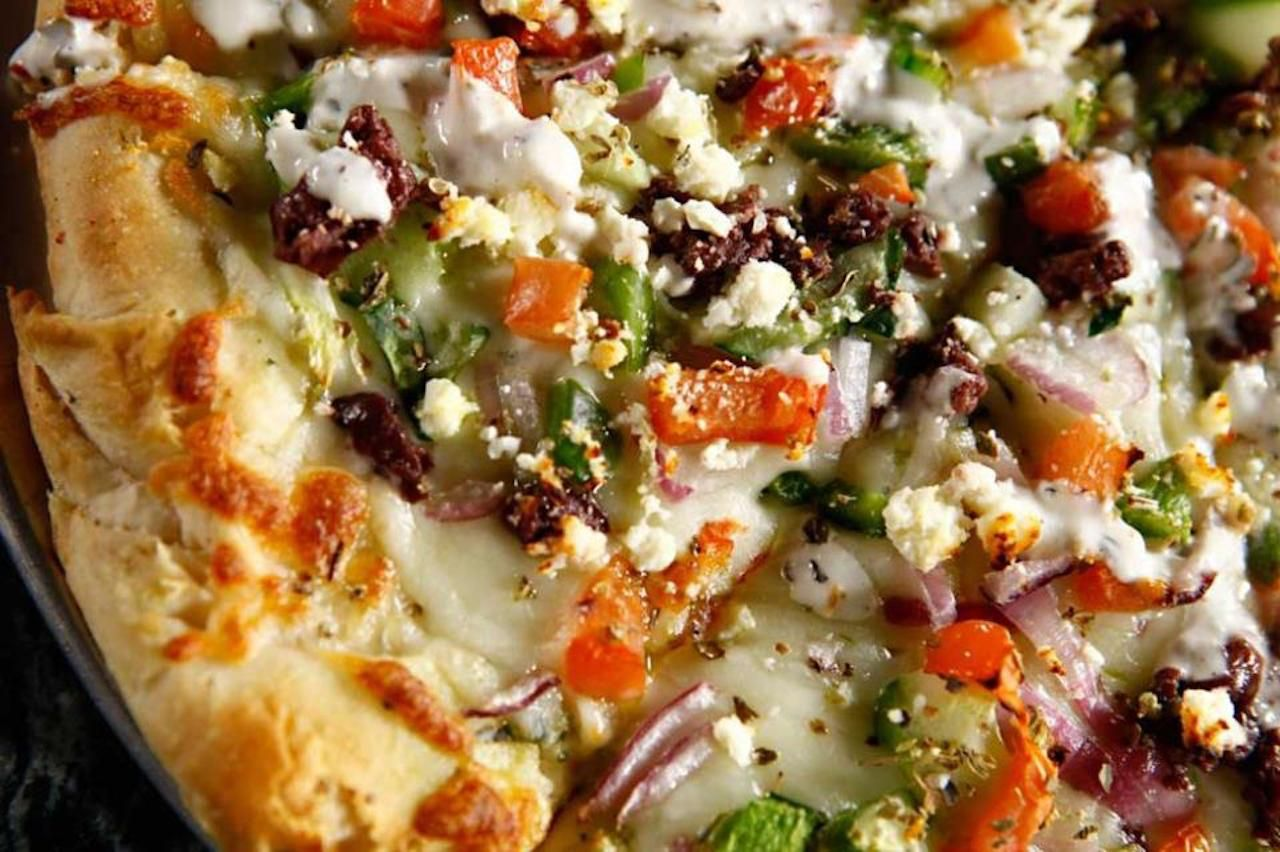 Greek pizza from Dimitrios Cuisine in Cambridge, MA