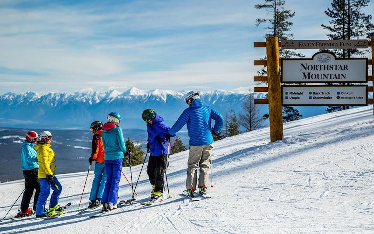 Group of skiers on the slopes at the Kimberley Alpine Resort
