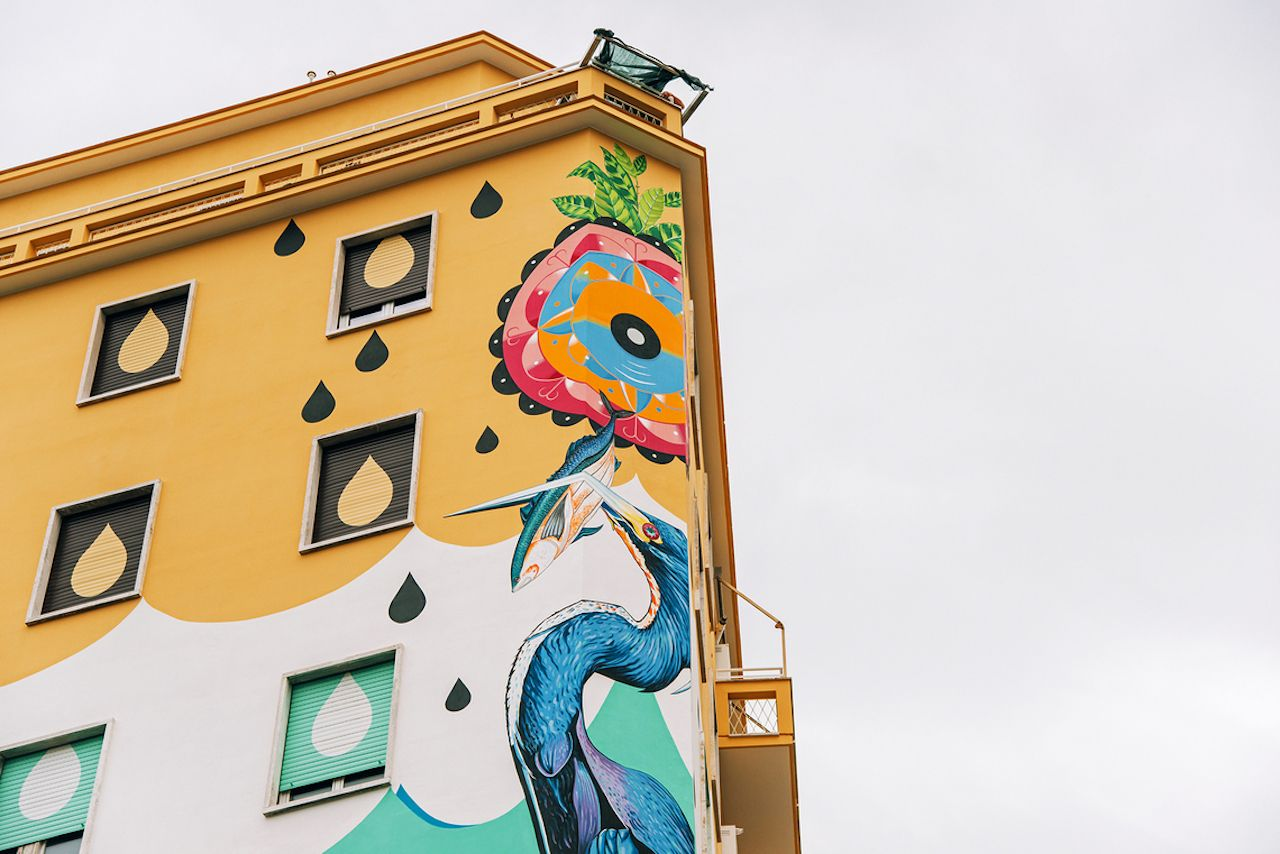 Heron featured in Hunting Pollution street art piece