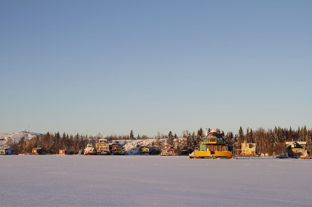 Houseboats on Yellowknife Bay, Great Slave Lake, Yellowknife, Northwest Territories