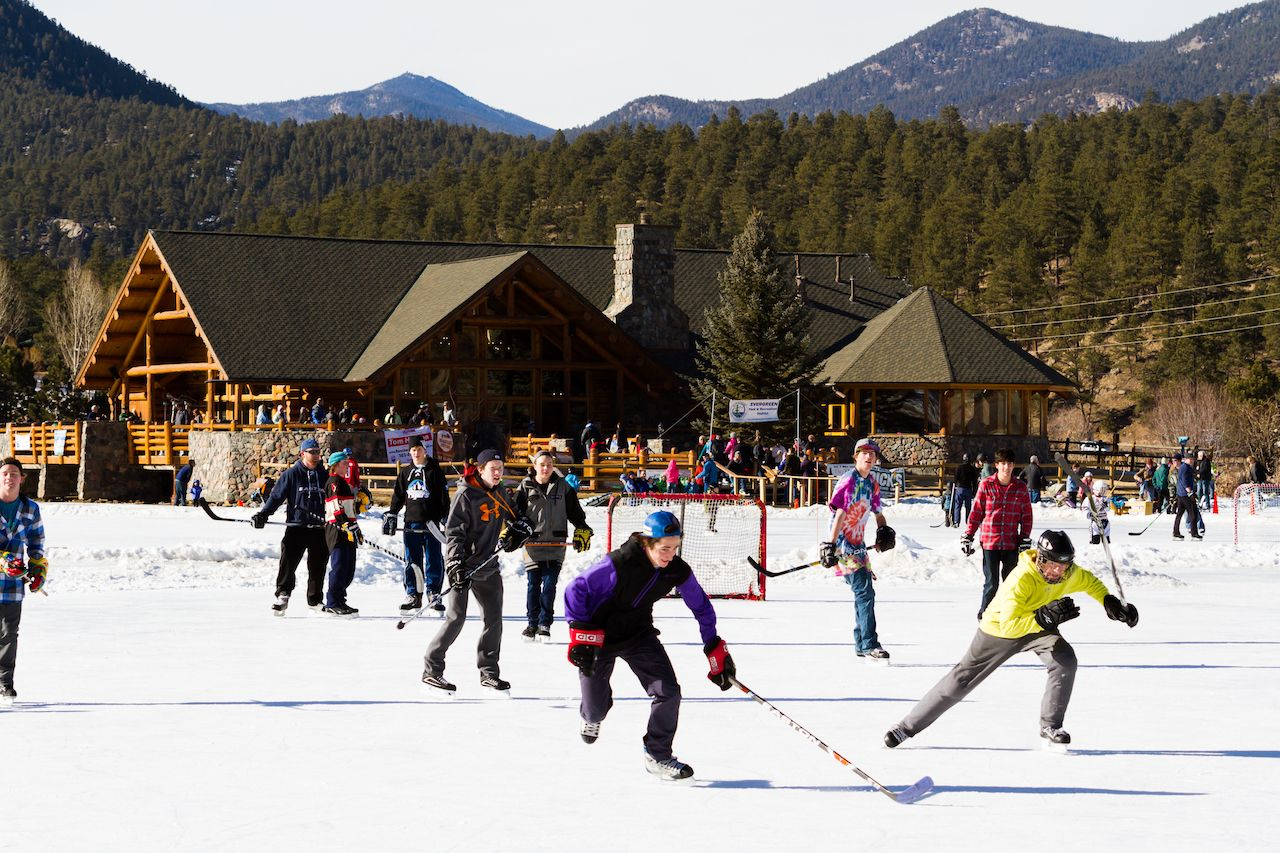 Ice skating on Evergreen Lake, Colorado