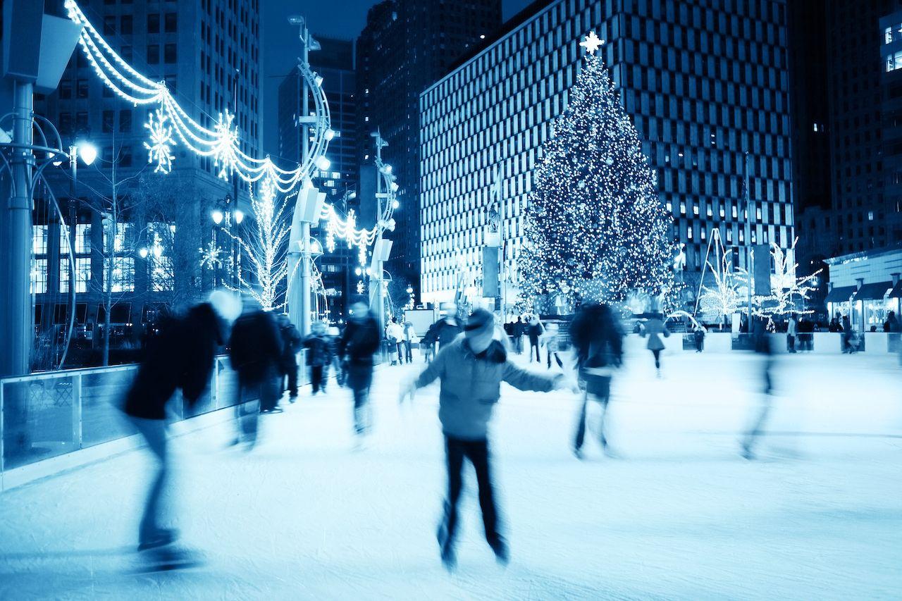 Ice skating rink during Christmas