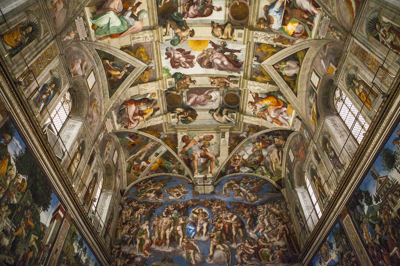 Interior and architectural details of the Sistine chapel in Italy