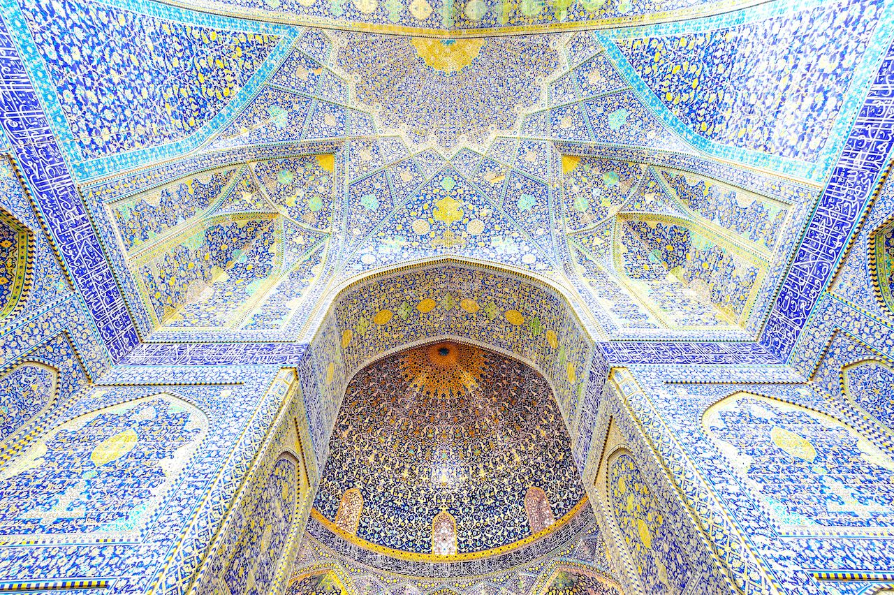 Interior of Imam Mosque at Naghsh-e Jahan Square in Isfahan, Iran
