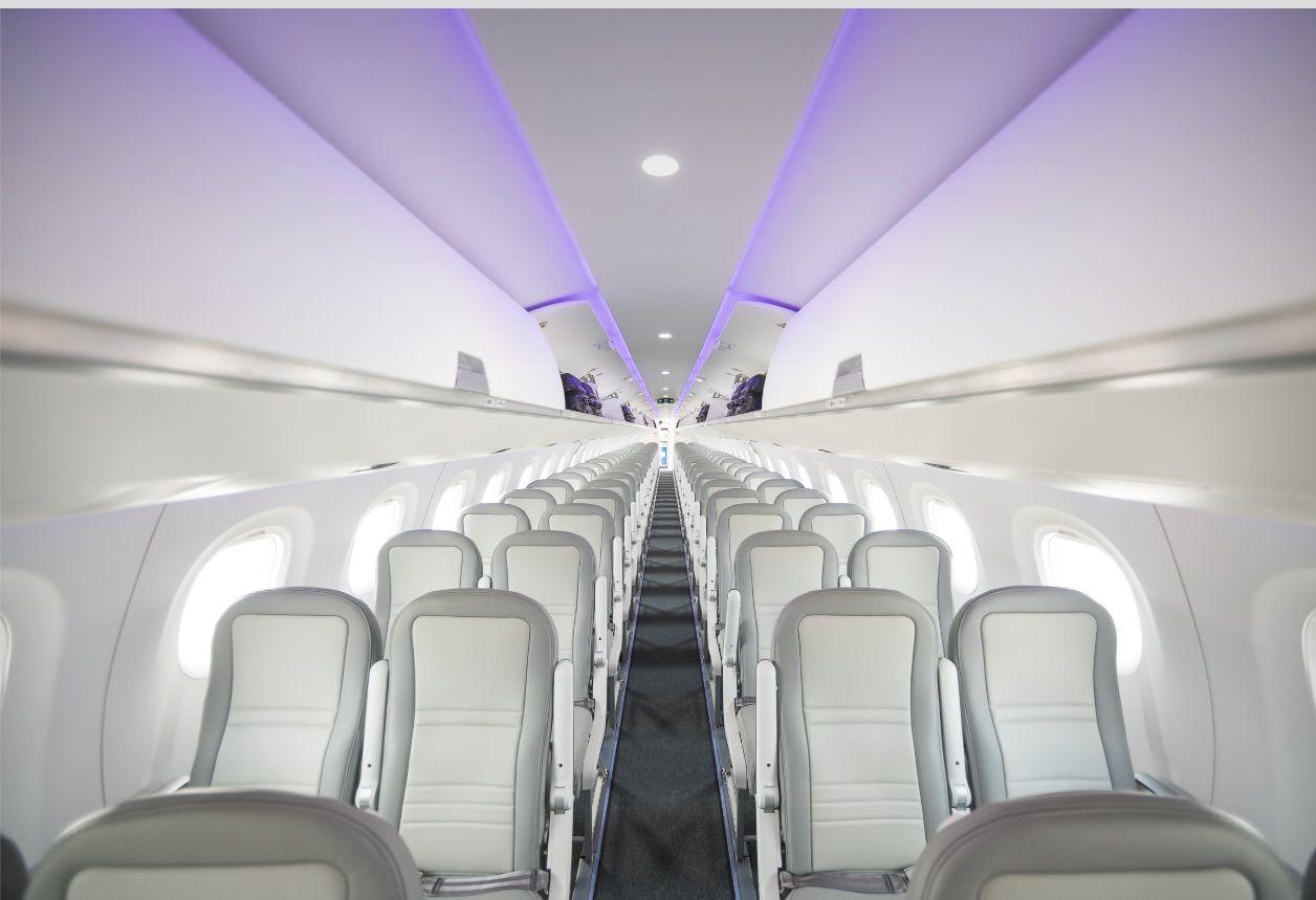 Interior of new Embraer E2 aircraft