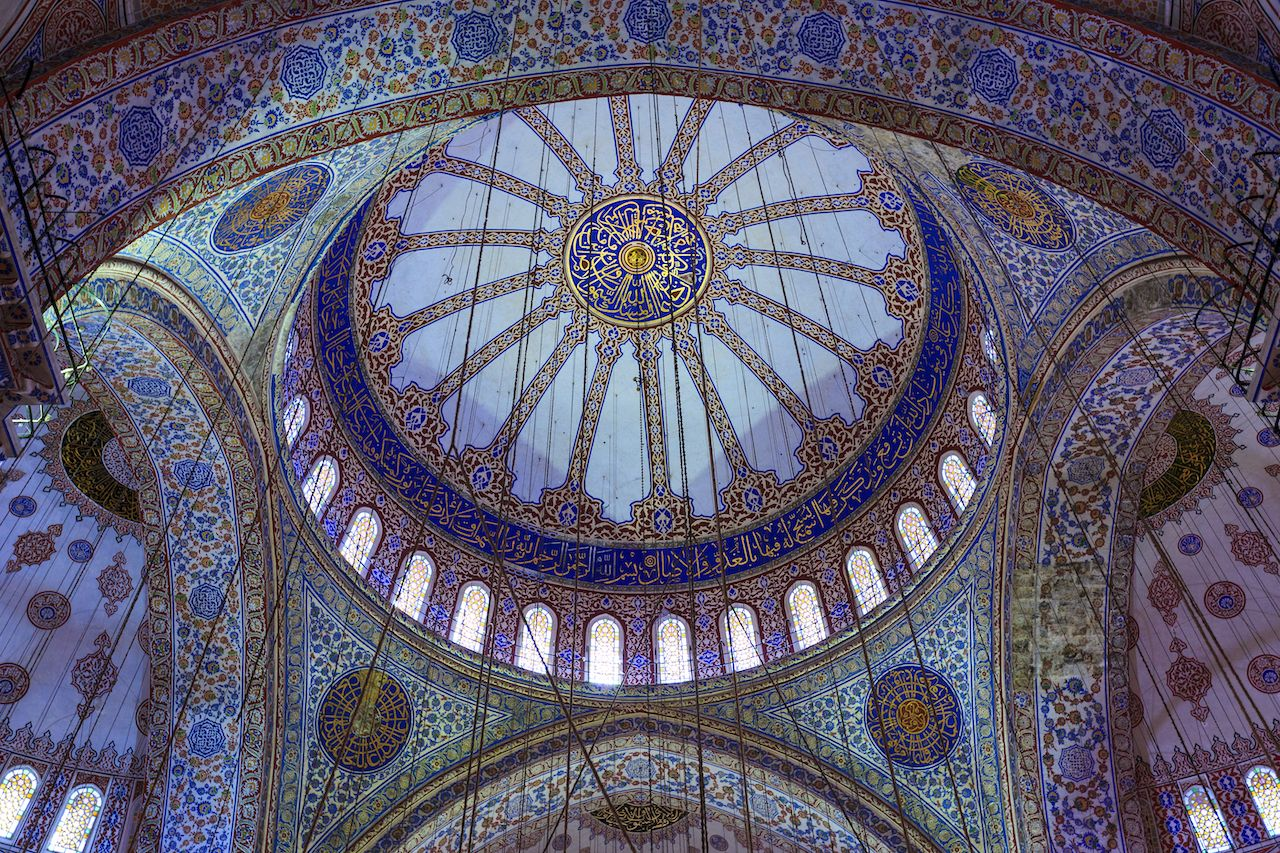 Interior of the Sultan Ahmed Mosque in Turkey