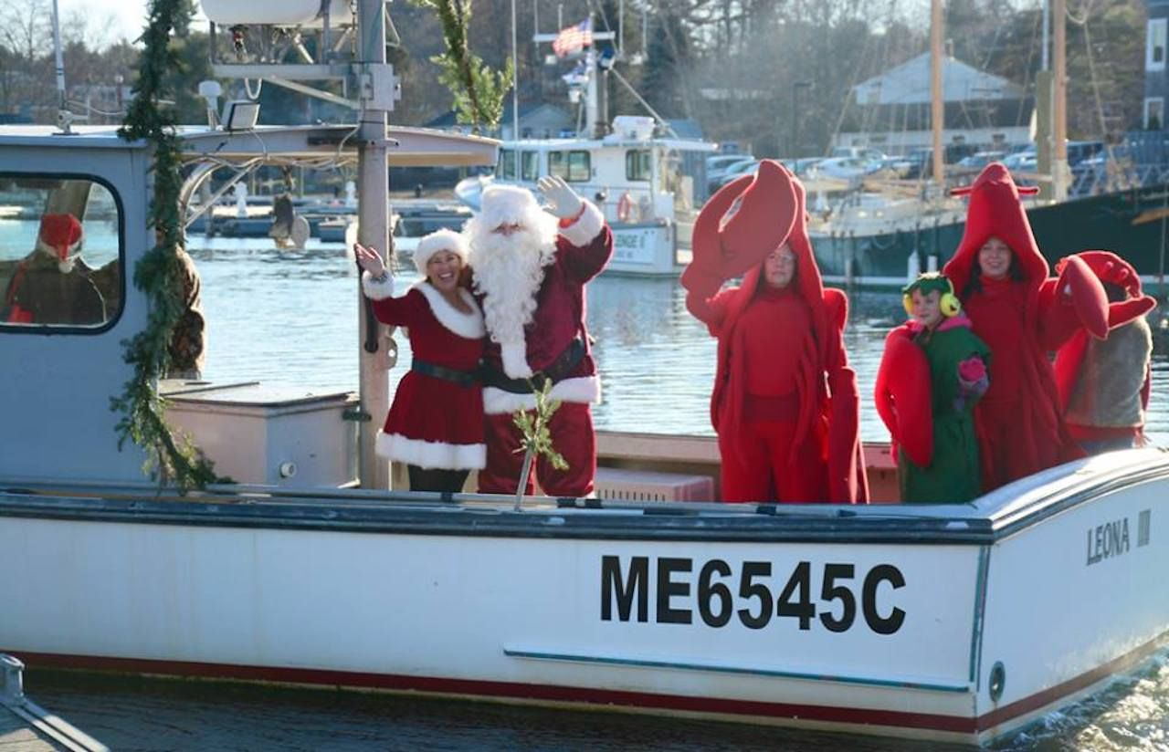 Santa on a lobster boat as part of Kennebunkport's Christmas Prelude